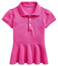 Ralph Lauren Baby Girls College Pink Peplum Pique Polo