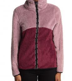 Multi Color Colorblock Faux Shearling Zip Jacket