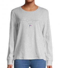 Karl Lagerfeld Grey Long-Sleeve Logo T-Shirt