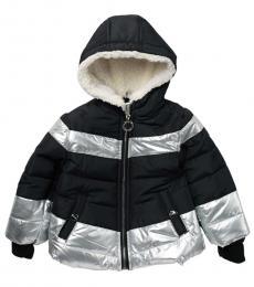 Baby Girls Black Metallic Faux Fur Puffer Jacket
