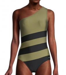DKNY Olive Colorblocked One-Piece Swimsuit