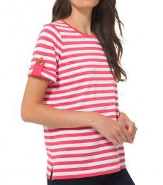 Michael Kors Geranium Pink Striped Roll-Sleeve Shirt