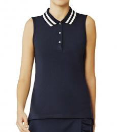 Tory Burch Navy Blue Performance Pleated-Collar Polo Tee