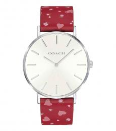 Coach Red Perry Heart Watch