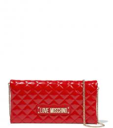 Love Moschino Red Quilted Clutch