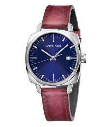 Calvin Klein Maroon Frater Blue Dial Watch