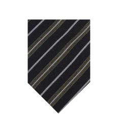 Christian Dior Black Striped Regimental Skinny Tie