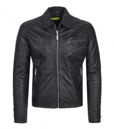 Versace Jeans Black Back Print Leather Jacket