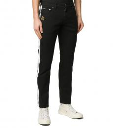 Black Contrast Stripe Straight-Leg Jeans