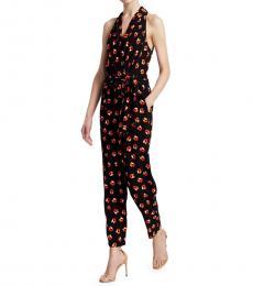 Diane Von Furstenberg Black Crossover Wrap Jumpsuit
