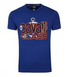 Cavalli Class Blue Graphic Logo T-Shirt