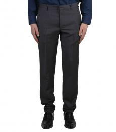 Dark Grey Wool Striped Pants