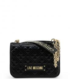 Love Moschino Black Logo Strap Medium Shoulder Bag