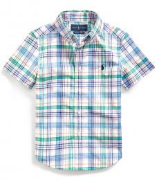 Little Boys Blue Plaid Poplin Shirt