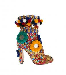 Dolce & Gabbana Red Multi Embellished Boots