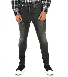 Dark Grey Distressed Super Skinny Fit Jeans