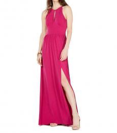 Deep Fuchsia Halter Cut-Out Maxi Dress