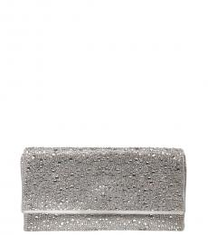 Betsey Johnson Silver All Eyes On Me Clutch