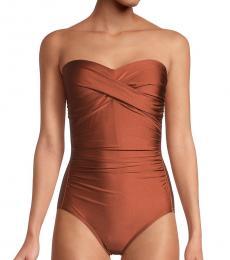 Calvin Klein Brown Bandeau One-Piece Swimsuit
