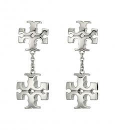 Tory Burch Silver Kira Linear Double Drop Earrings