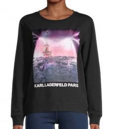 Karl Lagerfeld Black Sunset Eiffel Cotton-Blend Sweatshirt