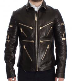 Brown Leather Zipper Jacket