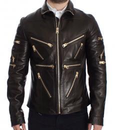 Dolce & Gabbana Brown Leather Zipper Jacket