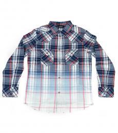 Diesel Boys Blue Checked Ceast Shirt