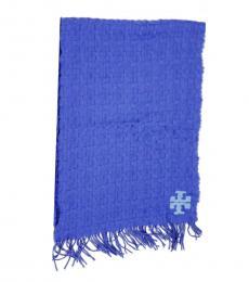 Tory Burch Blue Whip-Stitch Scarf