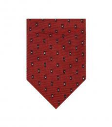 Christian Dior Red Groovy Skinny Tie