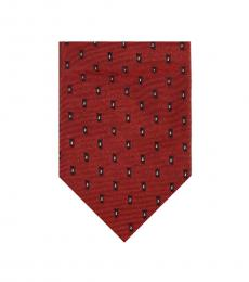 Christian Dior Red Groovy Skinny Tie