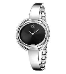 Silver Impetuous Black Dial Watch