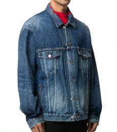 Balenciaga Blue Logo Denim Jacket