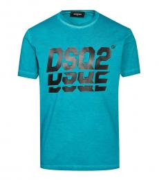Dsquared2 Turquoise Graphic Print T-Shirt