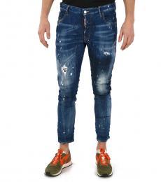 Blue Tidy Biker Capri Jeans