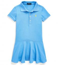 Ralph Lauren Little Girls Harbor Island Blue Mesh Polo Dress
