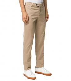 Beige Slim-Fit Chino Trousers