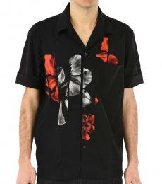 Black Floral Short Sleeves Shirt