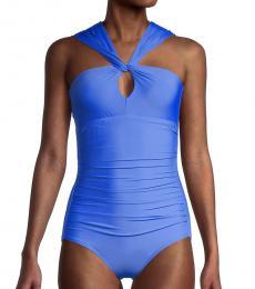 Calvin Klein Blue Asymmetrical 1-Piece Swimsuit