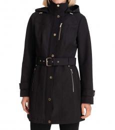 Michael Kors Black Hooded Belted Raincoat