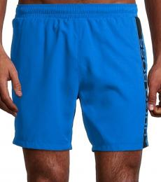 Hugo Boss Turquoise Dolphin Logo Stripe Swim Trunks