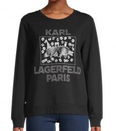 Karl Lagerfeld Black  Graphic Cotton-Blend Pullover
