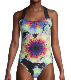 Multi Color Print Logo One-Piece Swimsuit