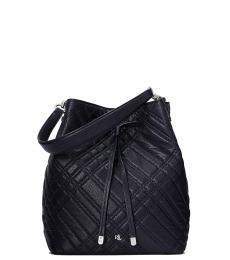 Ralph Lauren Navy Blue Quilted Debby Medium Bucket Bag