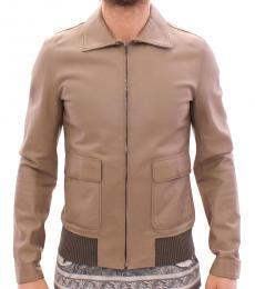 Dolce & Gabbana Beige Leather Biker Jacket