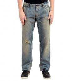 Dolce & Gabbana Blue Distressed Straight Leg Jeans
