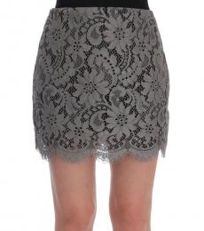 Grey Floral Lace Skirt