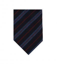 Christian Dior Navy Blue Striped Regimental Skinny Tie