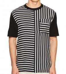 McQ Alexander McQueen Black White Striped River T-Shirt