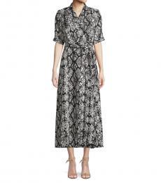Black Printed Wrap Dress